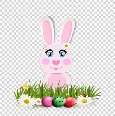 Cute cartoon pink bunny among  dyed eggs on green grass