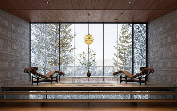 雪景色の見える別荘