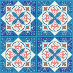 Blue ornamental tiles background