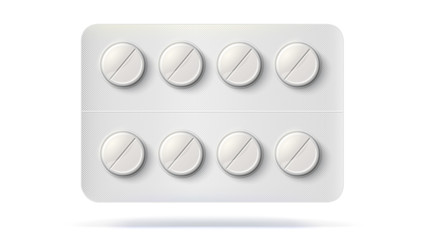 Blister pack with pills for treatment of illness. Realistic template of packaging for medical drugs for tablets, vitamin, antibiotics. Vector 3D illustrations of pack isolated on white background.