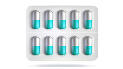 Blister pack with pills for illness. Realistic template of packaging for medical drugs for tablets, vitamin, antibiotics. Vector 3D illustrations of pack isolated on white background.