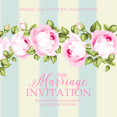 Marriage invitation card. Wedding card template with blooming roses and custom text isolated over blue tile background. Pink flowers of blossom roses. Vector illustration.