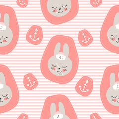 Cute baby pattern with little bunny. Cartoon animal girl print vector seamless. Nautical kids background with sailor rabbit patch for children birthday party, pajamas fabric, nursery bedroom textile.