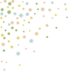 Delicate Floral Pattern with Simple Small Flowers for Greeting Card or Poster. Naive Daisy Flowers in Primitive Style. Vector Background for Spring or Summer Design.