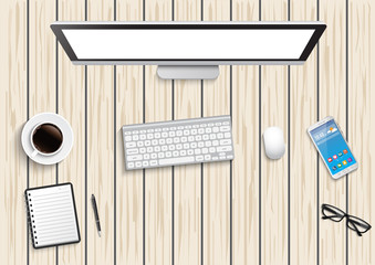 Realistic workplace desktop. Top view desk table, personal computer with keyboard, smartphone, stickers, glasses, open note on wooden. illustrator vector.