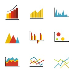 Diagram icons set. flat set of 9 diagram vector icons for web isolated on white background