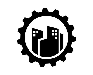 black building gear skyscraper skyline cityscape image vector icon