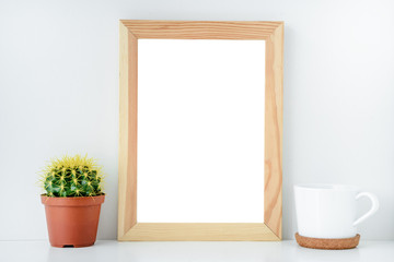 layout for design empty wooden frame with isolated background