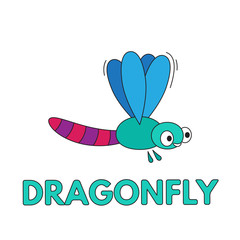 Cartoon Dragonfly Flashcard for Children