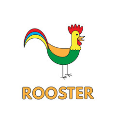 Cartoon Rooster Flashcard for Children
