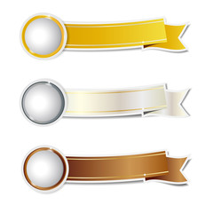 Golden silver and bronze ribbons banner
