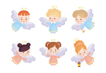 Cute angels set in a cartoon style. Vector illustrations isolated on white background.