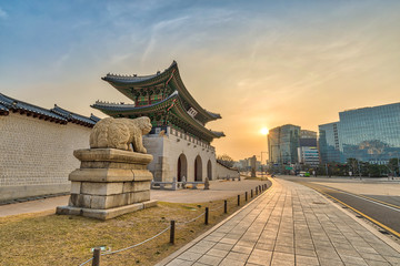 Seoul sunrise city at Gwanghwamun Gate, Seoul, South Korea (Translation : Gwanghwamun name of the gate)