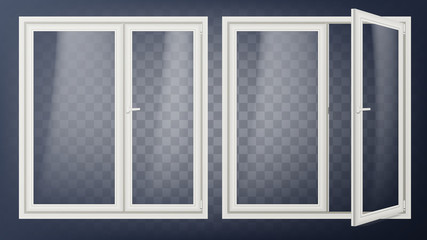 Plastic Glass Door Vector. Opened And Closed. Apartment Element. Isolated On Transparent Background Illustration