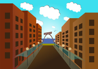 vector image of empty road to the sea through a colorful city in perspective,  empty beach.