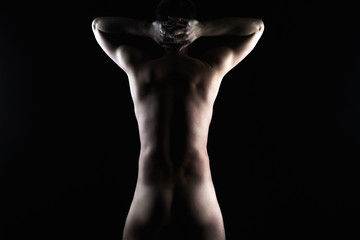 Male Nude shape silhouette. Naked Body Man