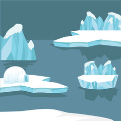Arctic iceberg and mountains background