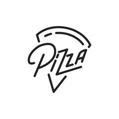 Pizza. Pizza lettering illustration. Pizza label badge emblem