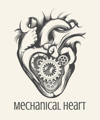 Mechanical Heart Retro Illustration