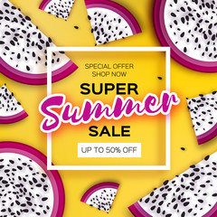 Exotic Dragon Fruit Super Summer Sale Banner in paper cut style. Origami juicy ripe dragonfruit slices. Healthy food on yellow. Summertime. Square frame for text.