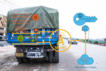 Internet of Things, parking and intelligent network automotive background every truck