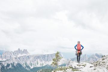 Rock climber in Dolomites