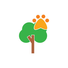 Paw Tree Logo Icon Design