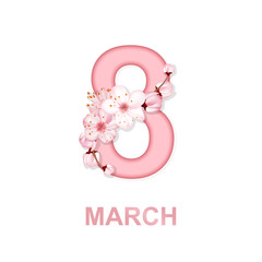8 march international women's day background with flowers. Spring cherry blossoms greeting card design.