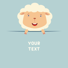 Funny sheep looks out from behind the text. Postcard with cartoon sheep with a field for your text.