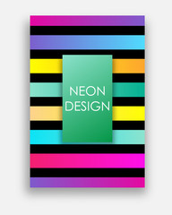 Vibrant vector templates of web banner, sale or discount, club party flyer, big data poster, fest invitation. Colorful set with neon colors. Futuristic abstract design with trendy geometric shapes.