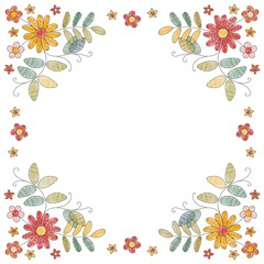 Floral embroidery frame with beautiful flowers. Greeting or invitation card. Fashion design for bandana print, kerchief design, napkin. Vector illustration.