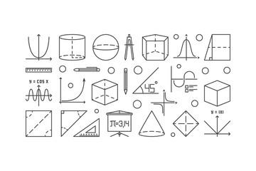 Trigonometry and mathematics outline illustration