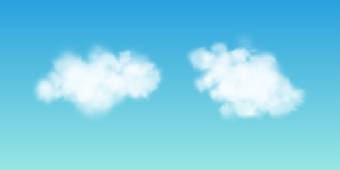 Transparent white cloud on the sky. Realistic illustration.