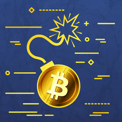 Flat Line design graphic image concept of  bitcoin bomb icon on a blue vector paper layer background