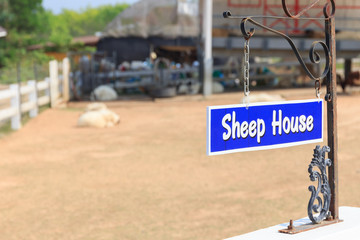 Label text is sheep house.