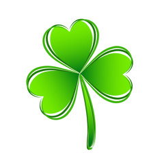 Three leaf green clover hand draw. Lucky quatrefoil. Good luck symbol. Decoration for greeting cards, patches, prints for clothes, emblems