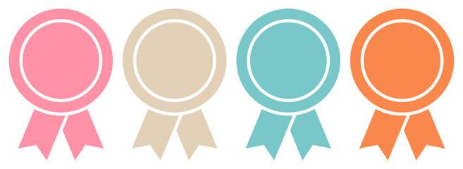 4 Round Award Badges Retro Graphic