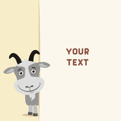 Funny goat looks out over the fields to text. Template with goat for cards, invitations or greetings