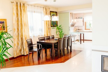 Dining room with big brown table