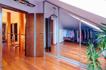 Mirrored wardrobe with large mirror doors