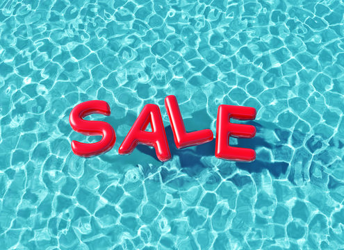 Clear blue swimming pool with sale word floating on the water