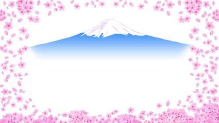桜と富士山の見える春の景色