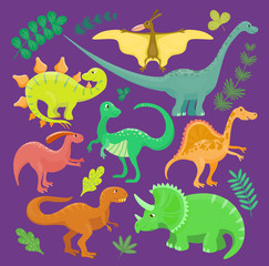 Dinosaur vector kid hand drawn cartoon style collection set illustration. Dino reptile cute monster funny animal and prehistoric character tyrannosaurus, brontosaurus, triceratops fantasy dinosaurs