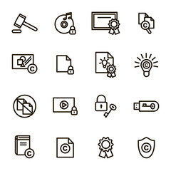Copyright Signs Black Thin Line Icon Set. Vector