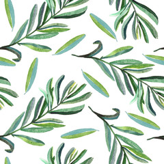 Branches with green leaves, seamless pattern design, hand painted watercolor illustration, white background