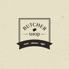 Emblem of Butchery meat shop with Pig silhouette, text The Butchery, Fresh Meat, farm products. Logo template for meat business - farmer shop, market, restaurant or design - banner, sticker.