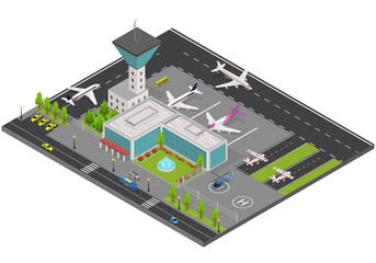 Airport Concept 3d Isometric View. Vector