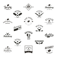 Set of retro styled butchery logo templates. Butchery labels with sample text. Butchery design elements and farm animals silhouettes for groceries, meat stores, packaging and advertising.