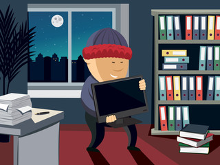 Thief steals a computer in the office at night. Night theme with moon and stars and city. 