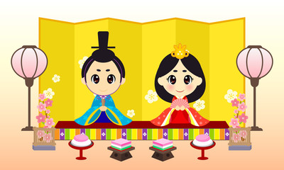 Hinamatsuri (Japanese Doll Festival or Girls' Day) Vector illustration. Set of Japanese traditional dolls.